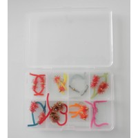 16 Worm  Flies, Compartment Pocket Box