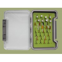 32 Buzzers in a Troutflies green MEDIUM Silicone Box - Named flies