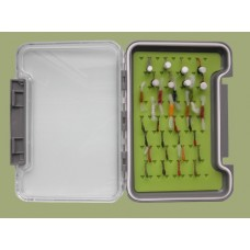 32 Buzzers in a Troutflies Silicone Insert Box - Named flies