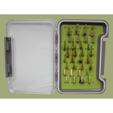 32 Nymph in a Troutflies Silicone green MEDIUM Box - Named flies