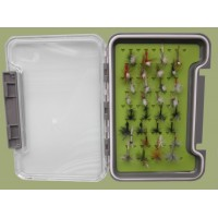 32 Parachute, Klinkhammer and Traditional Flies in a Troutflies Silicone Insert Box