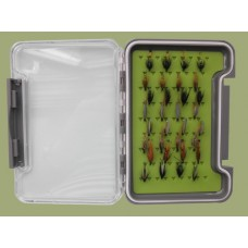 32 Traditional Wet Flies in a Troutflies MEDIUM Silicone Insert Box - Named flies