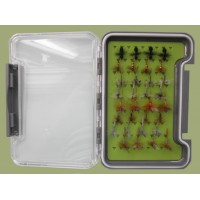 32 Traditional Dry Flies in a Troutflies Silicone Insert Box - Named flies