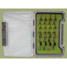 32 Goldhead Nymph in a Troutflies green MEDIUM silicone Box - Named flies