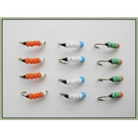 12 Beaded Buzzer, Green White & Orange