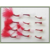 12 Goldhead Buzzer - Glass Epoxy Red and Red Marabou