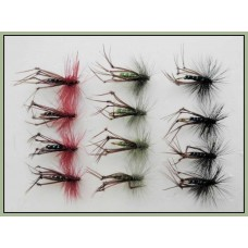 12 Hoppers, Coloured Hackles - black, claret, olive