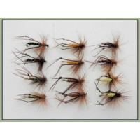 12 Standard Hopper Flies - black, brown, olive, orange, yellow