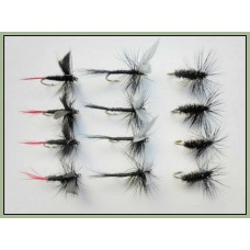 12 Dry Flies - Black Gnat, Black &  Peacock & Red Tailed Gnat
