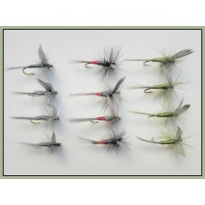12 Dry Flies - Blue Dun, Olive Dun & Iron Blue Dun