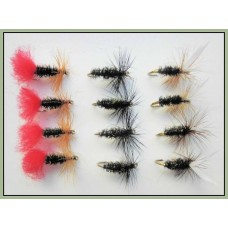 12 Dry Flies - Red Tag, Black & Peacock & Coachman