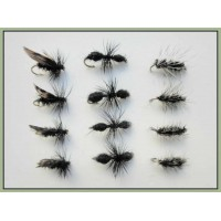 12 Dry Flies - Griffiths Gnat, Alder & Traditional Ant