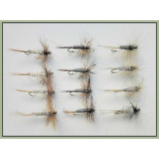 12 Dry Flies - Grey Duster, Adams, & Kites Imperial