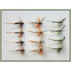12 Dry Flies - Hares Ear, Pheasant Tail & Olive
