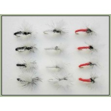 12 klinkhammer Dry Flies - Black,Red and White