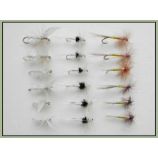 18 Dry Flies, White Moth,Caenis and Tupps