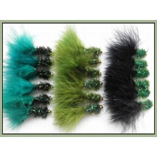 18 Goldhead Fritz Lures, Black and Greens