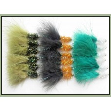 18 Goldhead Fritz Lures - Olive, Orange/black tail, White/green tail