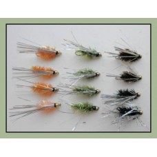 12 Goldhead Sparkle Fritz, Orange Olive & Black - silver wing
