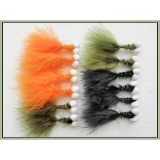 12 Booby Trout Flies Orange,Olive and Black