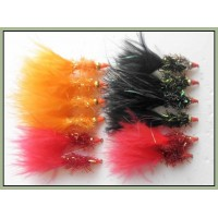 12 Goldhead Nomad -black (green & red nosed), orange, red