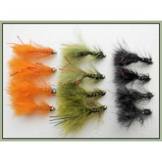 12 Goldhead Flash Damsels. Orange, Black & Olive