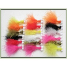 18 Mixed Booby Trout Flies - Mixed Colours
