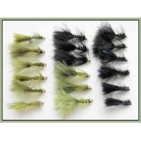18 Mini Goldhead Flash Damsels, Black and Olive