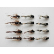 12 Tungsten Bead Flies - Pheasant Tail/ Hares Ear