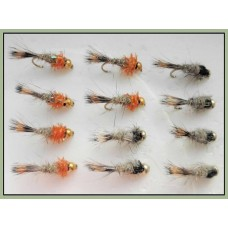 12 Goldhead Hares Ear - Orange and Natural
