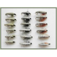 18 Czech Nymph Flies in Olive,Black and Brown