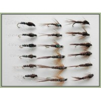 18 Nymph Flies - Pheasant Tails, Pearly, Flash and Natural