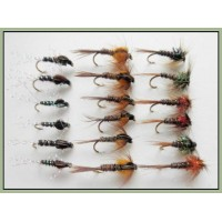 18 Nymph Flies - Cruncher and Pheasant Tails (Orange & Pearly)