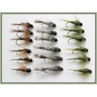 18 Tungsten Bead Nymph - Hares ear, Pheasant Tail, Olive