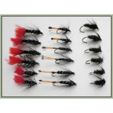 18 Wets - Black Pennell,Zulu and Black & Peacock