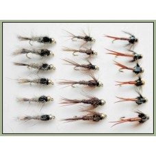 18 Goldhead Nymph  Flies -  Hares Ear, Copper John,Pheas Tail