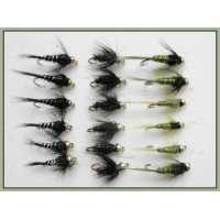 18 Goldhead Nymph  Flies - Black & Peacock ,Olives, black & Silver