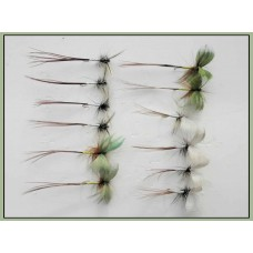 12 Mixed Mayflies, Grey, Green & Spent